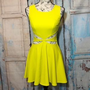 Marciano Cut-Out Dress Neon Yellow